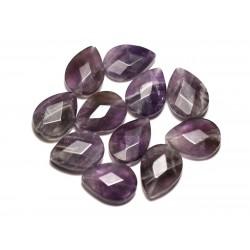 2pc - Perles de Pierre - Améthyste Gouttes Facettées 18x13mm - 8741140019621