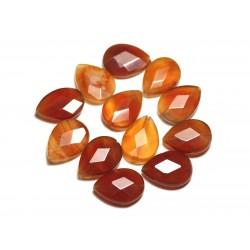 2pc - Perles de Pierre - Cornaline Gouttes Facettées 18x13mm - 8741140019645