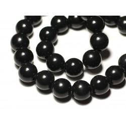 1pc - Perle de Pierre - Obsidienne Noire Boule 14mm gros trou 3mm - 8741140019454