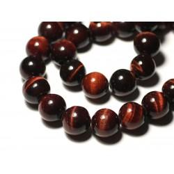 1pc - Perle de Pierre - Oeil de Taureau Tigre Rouge Boule 14mm gros trou 3mm - 8741140019461