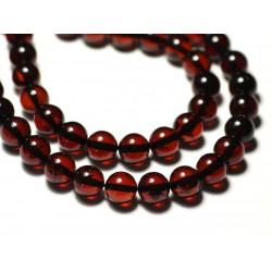1pc - Perle Ambre naturelle Boule 8mm Rouge - 8741140018747