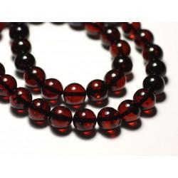 1pc - Perle Ambre naturelle Boule 10mm Rouge - 8741140018754