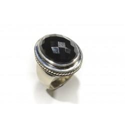 bague argent 925 onyx noir 20x15mm