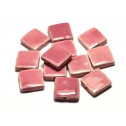 5pc - Perles Céramique Porcelaine Carrés 16-18mm Rose Corail Pêche - 8741140017054