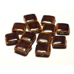 5pc - Perles Céramique Porcelaine Carrés 16-18mm Marron Café - 8741140017085