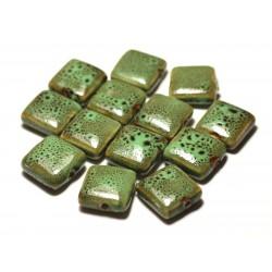 5pc - Perles Céramique Porcelaine Carrés 16-18mm Vert Pomme tacheté - 8741140017122