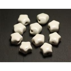 6pc - Perles Céramique Porcelaine Etoiles 16mm Blanc - 8741140017290