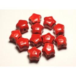 6pc - Perles Céramique Porcelaine Etoiles 16mm Rouge vif - 8741140017313