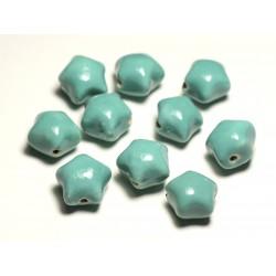 6pc - Perles Céramique Porcelaine Etoiles 16mm Vert clair Turquoise Pastel - 8741140017375