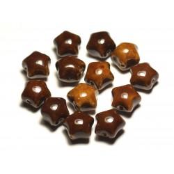 6pc - Perles Céramique Porcelaine Etoiles 16mm Marron Café Ocre - 8741140017382