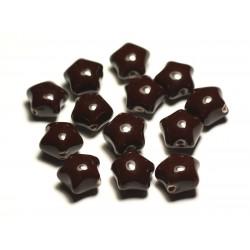 6pc - Perles Céramique Porcelaine Etoiles 16mm Marron Chocolat - 8741140017399