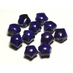 6pc - Perles Céramique Porcelaine Etoiles 16mm Bleu Nuit - 8741140017429