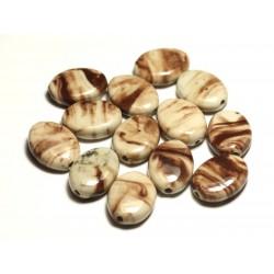 4pc - Perles Céramique Porcelaine Ovales 20-22mm Blanc crème Beige Marron - 8741140017610