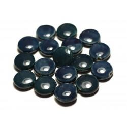 4pc - Perles Céramique Porcelaine Palets 16mm Bleu Vert Paon Canard Pétrole - 8741140017672