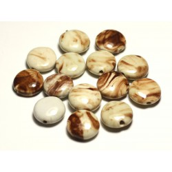 4pc - Perles Céramique Porcelaine Palets 16mm Blanc Ecru Beige Marron - 8741140017689