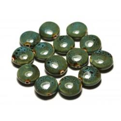 4pc - Perles Céramique Porcelaine Palets 16mm Bleu Turquoise Ocre Tacheté - 8741140017627