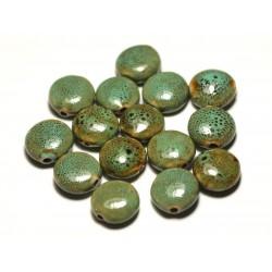 4pc - Perles Céramique Porcelaine Palets 16mm Bleu Turquoise Vert Jaune Tacheté - 8741140017634