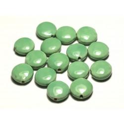 4pc - Perles Céramique Porcelaine Palets 16mm Vert Turquoise Pomme Menthe - 8741140017641