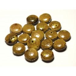 4pc - Perles Céramique Porcelaine Palets 16mm Jaune Ocre Marron Tacheté - 8741140017702