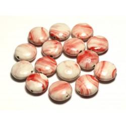 4pc - Perles Céramique Porcelaine Palets 16mm Blanc Rouge Rose Corail - 8741140017719