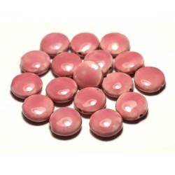4pc - Perles Céramique Porcelaine Palets 16mm Rose clair Corail Pêche - 8741140017740