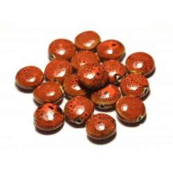 4pc - Perles Céramique Porcelaine Palets 16mm Orange Tacheté - 8741140017757
