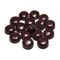 4pc - Perles Céramique Porcelaine Palets 16mm Violet Prune - 8741140017658