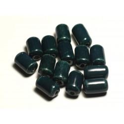 6pc - Perles Céramique Porcelaine Tubes 14mm Bleu Vert Paon Canard Pétrole - 8741140017795