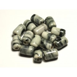 6pc - Perles Céramique Porcelaine Tubes 14mm Blanc Gris Noir - 8741140017801