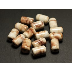 6pc - Perles Céramique Porcelaine Tubes 14mm Blanc Ecru Beige Marron - 8741140017818