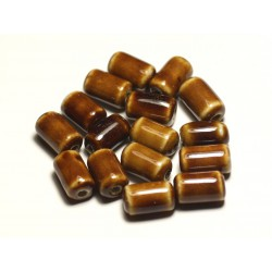 6pc - Perles Céramique Porcelaine Tubes 14mm Marron Café Ocre - 8741140017825