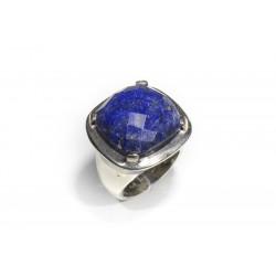 Bague argent 925 lapis lazuli facetté carré 20x20 mm