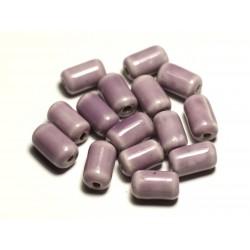 6pc - Perles Céramique Porcelaine Tubes 14mm Rose Mauve - 8741140017832