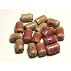 6pc - Perles Céramique Porcelaine Tubes 14mm Rose Jaune Ocre Tacheté - 8741140017849