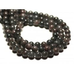20pc - Perles de Pierre - Jade Boules 6mm Vert Kaki Gris Prune - 8741140016736