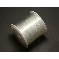 Bobine 25 mètres - Fil Elastique Rond 0.5mm Blanc Transparent - 8741140016897