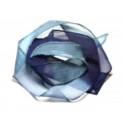 Collier Ruban Soie teint à la main 85 x 2.5cm Bleu clair Paon Nuit SOIE190 - 8741140016989