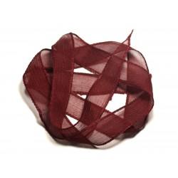 Collier Ruban Soie teint à la main 85 x 2.5cm Rouge Bordeaux SOIE192 - 8741140017009