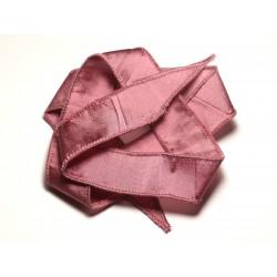 Collier Ruban Soie teint à la main 66 x 2.5cm Vieux Rose SOIE193 - 8741140017016