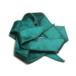 Collier Ruban Soie teint à la main 66 x 2.5cm Bleu Vert Paon Canard SOIE194 - 8741140017023