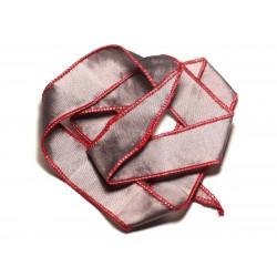 Collier Ruban Soie teint à la main 66 x 2.5cm Gris Argenté Rouge SOIE195 - 8741140017030