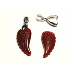 1pc - Pendentif en Pierre - Agate rouge Aile gravée 24mm - 8741140016781