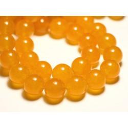 4pc - Perles de Pierre - Jade Boules 14mm Jaune Moutarde Safran - 8741140016705