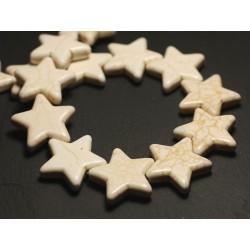 6pc - Perles Turquoise Synthèse reconstituée grandes Étoiles 25mm Blanc crème - 8741140016750