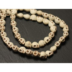 15pc - Perles Crâne Tête de Mort Turquoise Synthèse reconstituée 8mm Blanc - 8741140016385