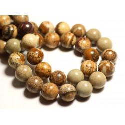 5pc - Perles de Pierre - Jaspe Paysage Beige Boules 10mm - 8741140015739