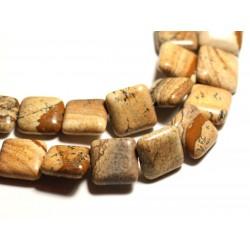 2pc - Perles de Pierre - Jaspe Paysage Beige Carrés 17mm - 8741140015746