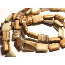 2pc - Perles de Pierre - Jaspe Paysage Beige Rectangles 18x13mm - 8741140015753