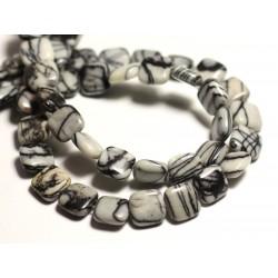 4pc - Perles de Pierre - Jaspe Zèbre Carrés 10mm - 8741140015777