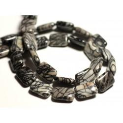 4pc - Perles de Pierre - Jaspe Zèbre Rectangles 14x10mm - 8741140015784